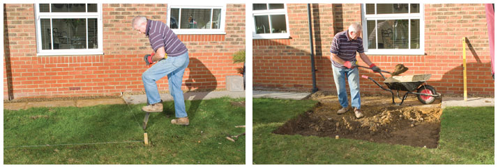 Digging out area for paving slabs