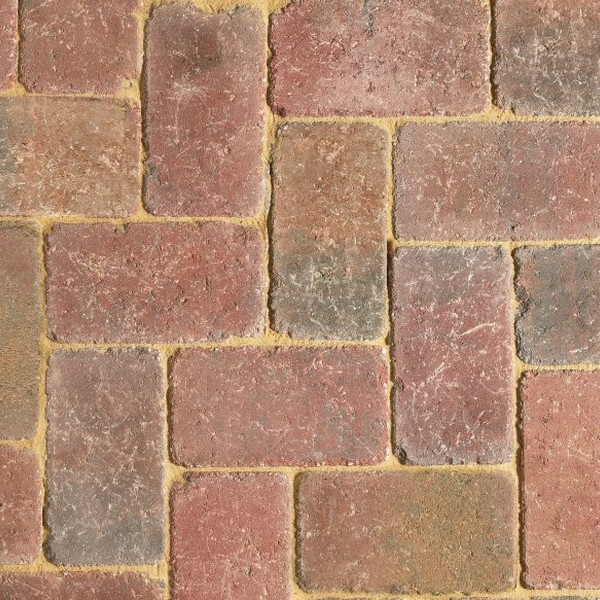 90m² Three Size Tumbled 80mm Block Paving Autumn Mix
