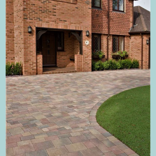 Smooth Three Size 60mm Block Paving Autumn Gold