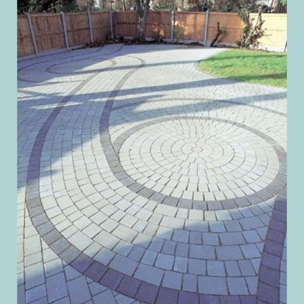 Beta Circle Pack Block Paving in Charcoal 60mm