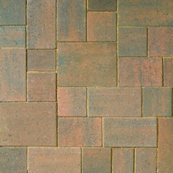 36.8m² Mixed Size Smooth Contemporary 60mm Block Paving Burnt Oak