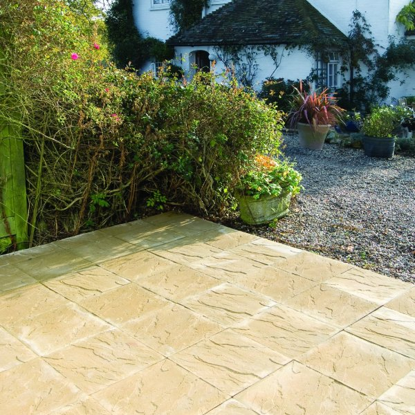 Broadway Economy Riven Paving Slabs in Buff 450 x 450mm