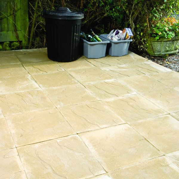 Broadway Economy Riven Paving Slabs in Buff 600 x 600mm