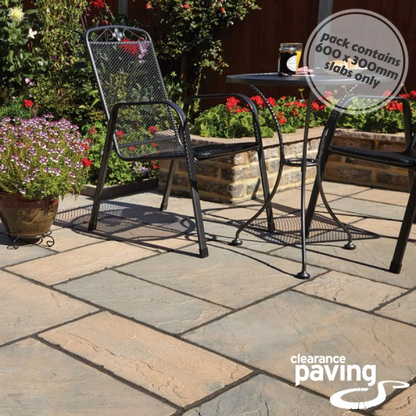 Bronte 64 No. 600x300x32mm Riven Paving Slabs - Acorn Brown