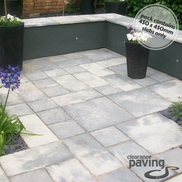 Bronte Riven Paving Slabs in Weathered Stone 450 x 450mm