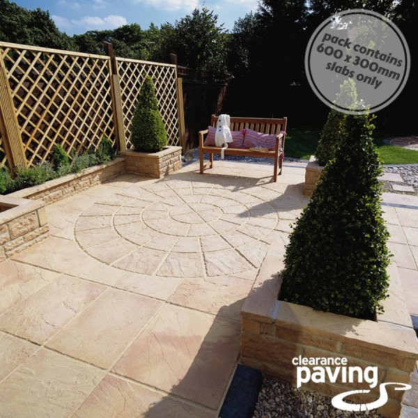 Bronte 64 No. 600x300x32mm Riven Paving Slabs - Weathered Apricot