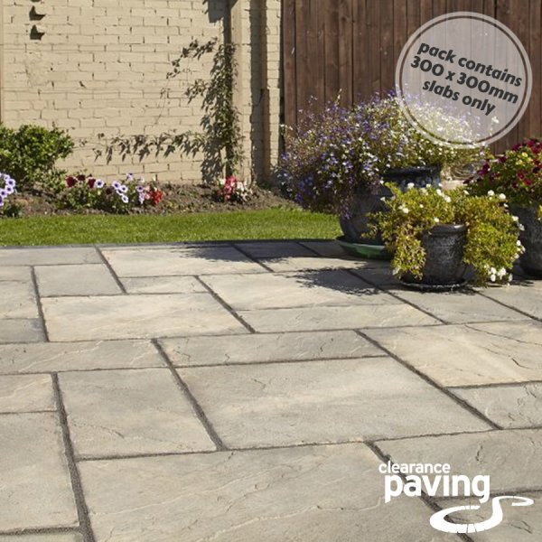 Bronte 64 No. 300x300x32mm Riven Paving Slabs - Weathered Buff