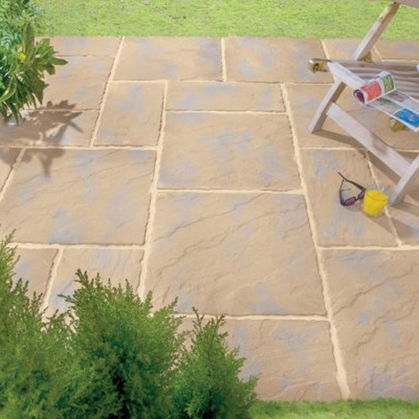 3 Size Riven Paving Slab Patio Pack Mellow Amber
