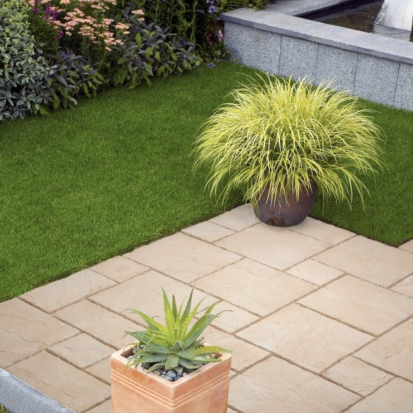 3 Size 5.63m² Riven Paving Slab Patio Pack - Mellow Amber