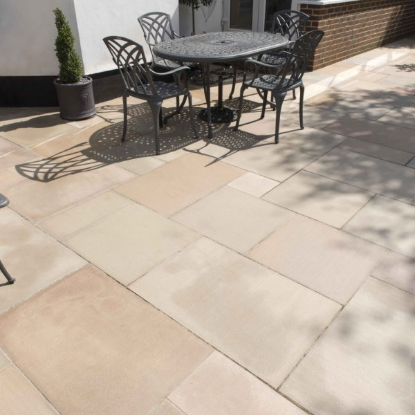 3 Size 15.04m² Flamed Sandstone Linear Patio Pack - Forest Glen