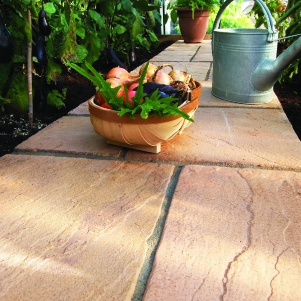 5 Size 7.61m² Riven Paving Slab Patio Pack Honey Brown