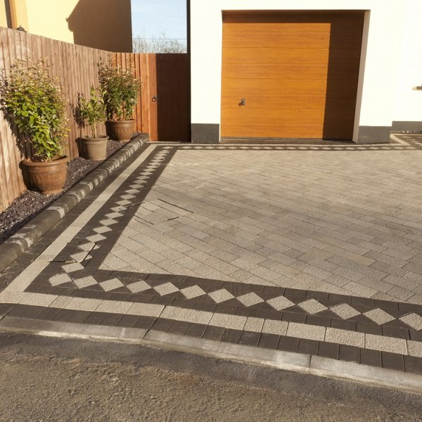 Textured Three Size 60mm Block Paving Misty Grey