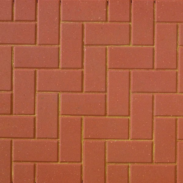 Smooth Single Size 200x100x50mm Block Paving Red
