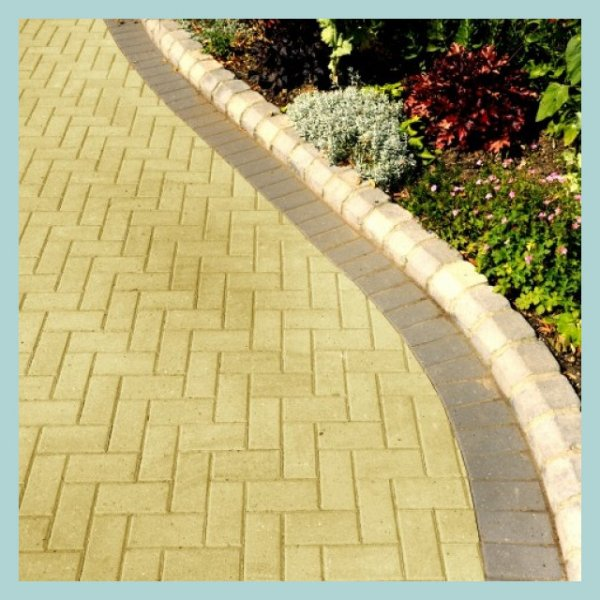 Omega Block Paving in Buff 50mm