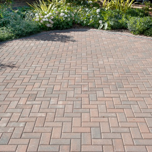 Omega Block Paving in Burnt Oak 50mm