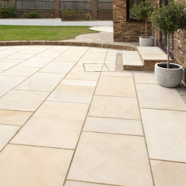 4 Size 15.37m² Polished Sandstone Patio Pack Fossil Mint