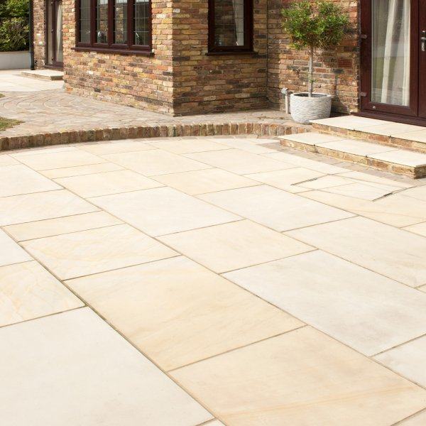 3 Size 15.04m² Polished Sandstone Linear Patio Pack Fossil Mint