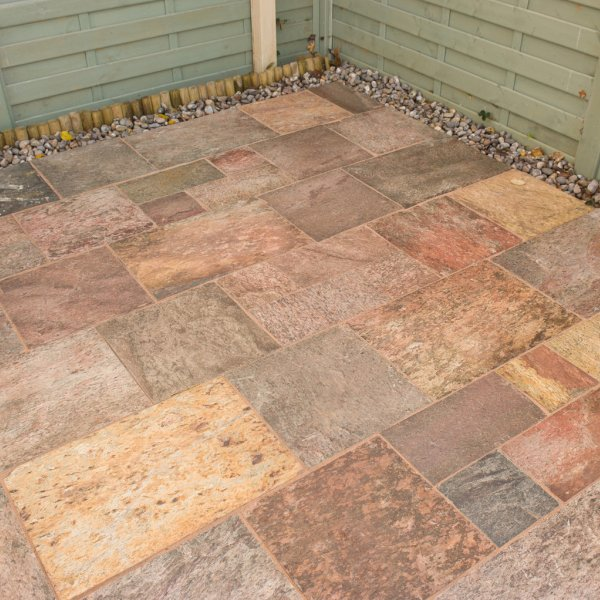 4 Size 12.17m² Riven Quartzite Patio Pack Burnt Glow