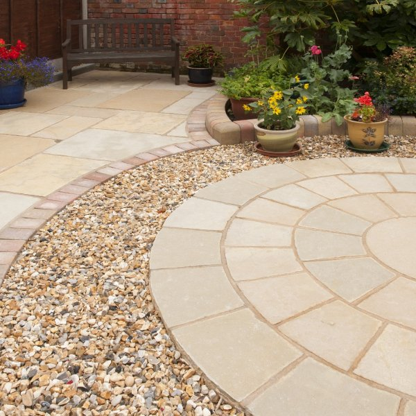 Rippled Limestone Circle and Corner Pack - Honey (BW)