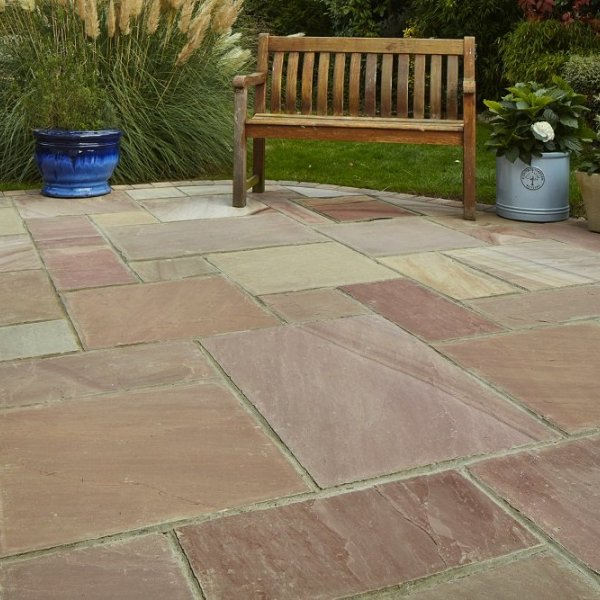 4 Size 15.37m² Riven Sandstone Patio Pack - Raveena