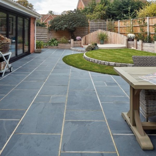 3 Size 15.04m² Riven Slate Linear Patio Pack - Olive Black