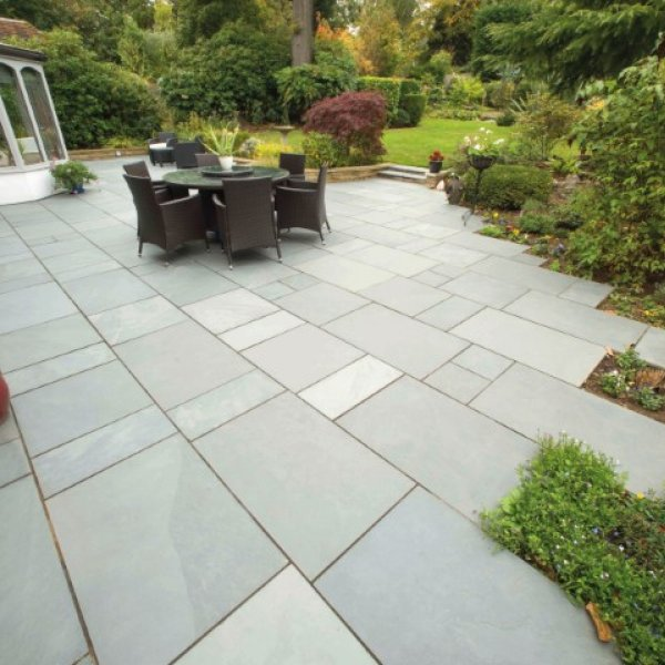 3 Size 15.04m² Riven Slate Linear Patio Pack - Woodland Grey
