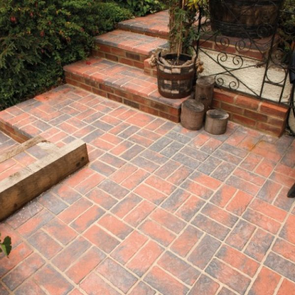 Rochester Brick 450x450x42mm Basket Weave - Burnt Red