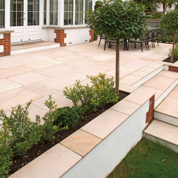 4 Size 15.37m² Textured Sandstone Patio Pack - Rustic Pearl