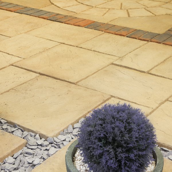 Bronte Riven Paving Slabs in Weathered Apricot Mixed Size Patio Pack