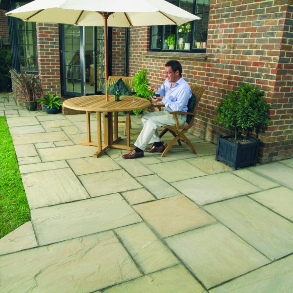 3 Size 5.63m² Riven Paving Slab Patio Pack Mellow Amber