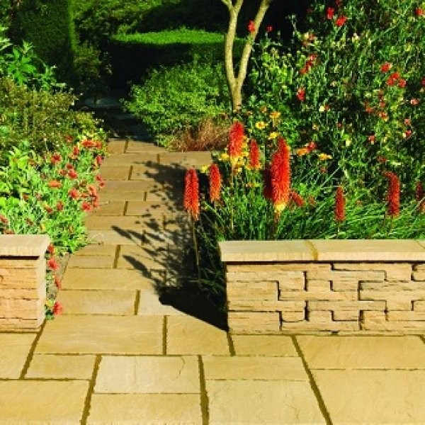 3 Size 5.63m² Riven Paving Slab Patio Pack - Old Cotswold