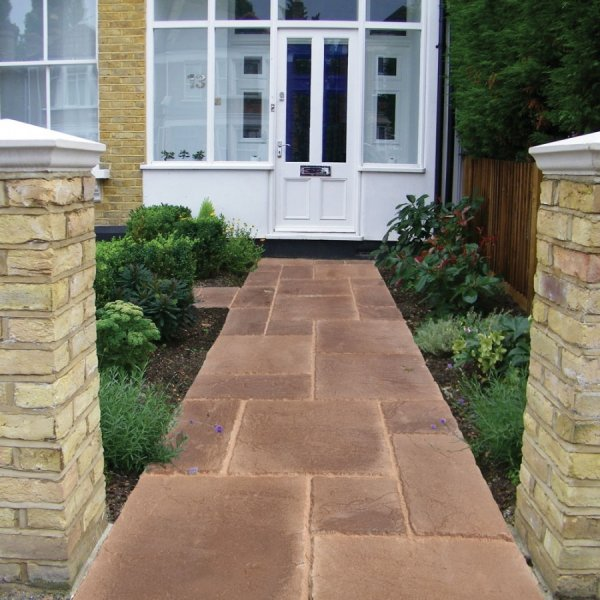 3 Size 5.63m² Riven Paving Slab Patio Pack Pale Ochre
