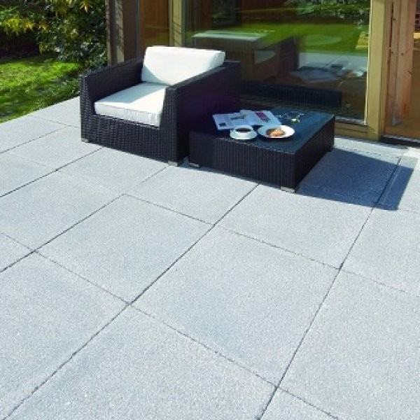26 No. 600x600x35mm Textured Paving Slabs Charcoal