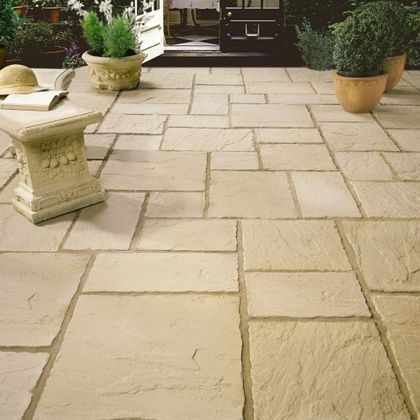 5.63m² Three Size Riven Slab Patio Paving Pack Old Cotswold