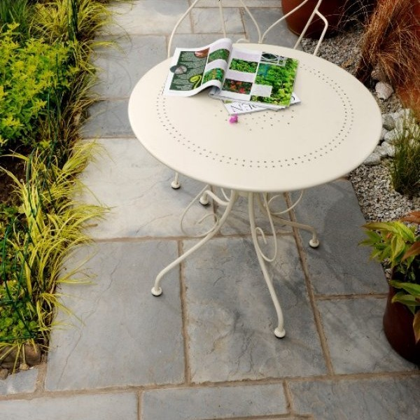 Bronte Riven Paving Slabs in Weathered Stone Mixed Size Patio Packs