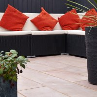 3 Size 15.04m² Flamed Sandstone Linear Patio Pack - Sunrise (CL)